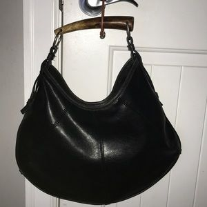 Black shoulder purse with bamboo handle
